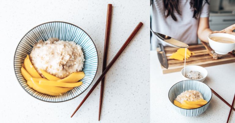 Drizzling sweet coconut milk over a bowl of Sticky Rice with Fresh Mango Slices.