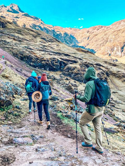 hiking up a mountain in Peru