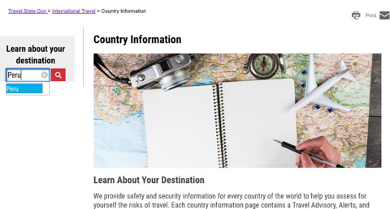 View of the webpage where you can search for Country information for any destination you may be planning to visit.